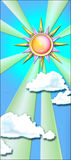 Storybook sun. Painting of the sun mase of colored glass royalty free illustration