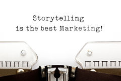 Storytelling Is The Best Marketing On Typewriter. Storytelling Is The Best Marketing quote typed on retro typewriter royalty free stock images
