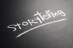 Storytelling Chalkboard. Storytelling topic, handwriting by chalk on chalkboard royalty free stock photography