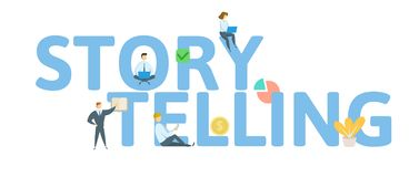 STORYTELLING. Concept with people, letters and icons. Flat vector illustration. Isolated on white background. royalty free illustration