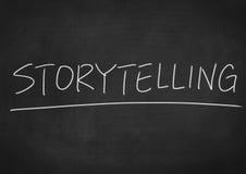 Storytelling. Concept word on blackboard background stock image
