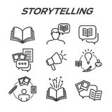 Storytelling Icon Set with Speech Bubbles Royalty Free Stock Photo