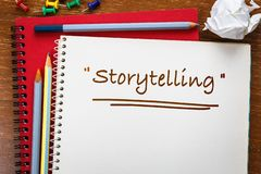 Storytelling Learning Topic. Storytelling topic on notebook and pencils on the desk stock photography