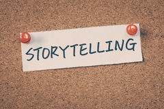 Storytelling. Note pin on the bulletin board Stock Image