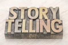 Storytelling word abstract in wood type. Storytelling word abstract in vintage letterpress wood type printing blocks with charcoal digital painting effect Royalty Free Stock Photo