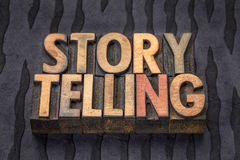 Storytelling word abstract in wood type Royalty Free Stock Photo