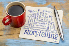 Storytelling word cloud on napkin. Storytelling word cloud - handwriting on a napkin with a cup of coffee stock photography