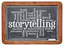 Storytelling  word cloud. Storytelling word cloud on an old slate blackboard isolated with a clipping path Royalty Free Stock Image