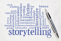 Storytelling word cloud on paper. Story and storytelling word cloud - handwriting on white lokta paper with a pen stock image