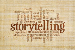 Storytelling word cloud on papyrus paper. Story and storytelling word cloud on a hand made papyrus paper stock images