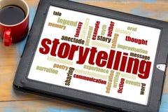 Storytelling  word cloud on tablet. Storytelling word cloud on a digital tablet with a cup of coffee Royalty Free Stock Image