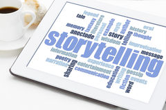 Storytelling  word cloud on tablet. Storytelling word cloud on a digital tablet with a cup of espresso coffee Royalty Free Stock Images