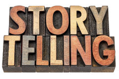Storytelling word in letterpress wood type Royalty Free Stock Photos