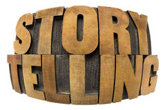 Storytelling word in wood type. Storytelling word in fisheye lens perspective - isolated text in letterpress wood type Royalty Free Stock Photo