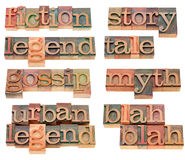 Storytelling words in letterpress type. Storytelling words (legend, myth, tale, story, gossip, fiction, blah) in vintage wood letterpress printing blocks Royalty Free Stock Image