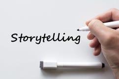 Storytelling written on whiteboard. Human hand writing storytelling on whiteboard stock images