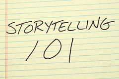 Storytelling 101 On A Yellow Legal Pad Stock Photos