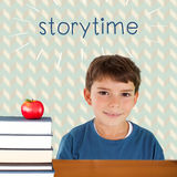 Storytime against red apple on pile of books. The word storytime and cute boy smiling against red apple on pile of books royalty free stock photos