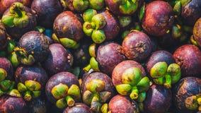 Stos Świeża mangostan owoc zdjęcia stock