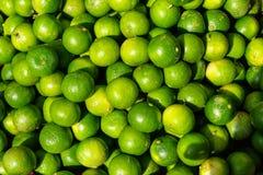 Stos świeżego zaokrąglonego organicznie wapna owocowy tło w jaskrawego koloru żółtego i zielonego koloru sprzedawaniu w rynku pod Fotografia Stock