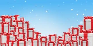 Stos boże narodzenie teraźniejszość z faborkiem 3d-illustration ilustracji