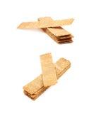 Stos crispy chlebów układy scaleni odizolowywający Zdjęcia Stock