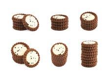 Stos czekoladowi ciastka odizolowywający Fotografia Royalty Free