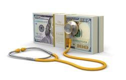 Stos dolary i stetoskop (ścinek ścieżka zawierać) Fotografia Stock