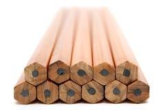 Stos drewniani ołówki dla knuć obrazy stock