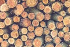 Stos drewno notuje, drewniana sterta na natura kolorach obraz stock