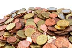 Stos Euro monet sideview Zdjęcie Stock