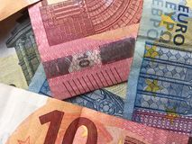 Stos euro zamknięty up Obrazy Royalty Free