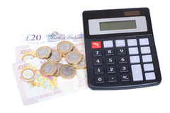 Stos gotówka z kalkulatorem na bielu Zdjęcia Stock