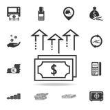 Stos gotówkowe dolarowego rachunku strzała up ikonę Szczegółowy set finanse, bankowość i zysku elementu ikony, Premii ilości graf Obrazy Royalty Free