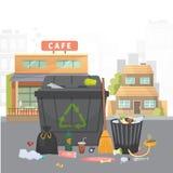 Stos grat Śmieci na miasta tle Wektor odosobniona ilustracja ilustracja wektor