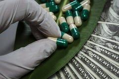 Stos kapsuły na zielonym liściu blisko dolarów zdjęcie royalty free