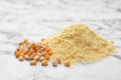 Stos kukurydzana mąka i nasiona Fotografia Stock
