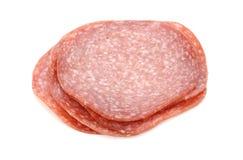 Stos Niemieccy salami plasterki Zdjęcia Royalty Free