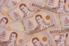 Stos nowi 1000 Tajlandzkiego bahtu banknotów zdjęcia stock