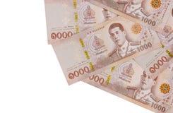 Stos nowi tysiąc Tajlandzkiego bahtu banknotów zdjęcie royalty free