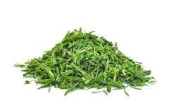 Stos plasterek zieleni senegalia pennata liść lub cha om lub Obraz Royalty Free