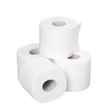 Stos rolki odizolowywać na bielu papier toaletowy Obraz Stock