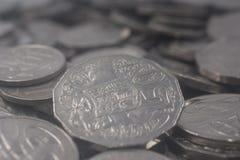 Stos Srebne Australijskie walut monety Fotografia Royalty Free