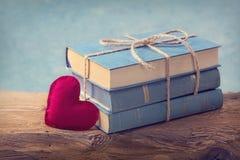 Stos stare błękitne książki Zdjęcie Stock