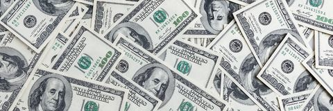 Stos sto USA banknotów Gotówka sto dolarowych rachunków, dolarowy tło wizerunek zdjęcie stock