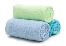 Stos tęcza barwioni ręczniki Zdjęcie Stock