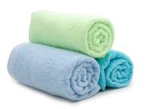 Stos tęcza barwioni ręczniki Zdjęcia Stock