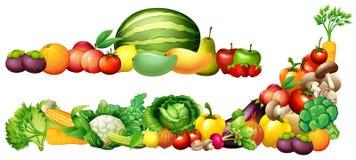 Stos świezi warzywa i owoc royalty ilustracja