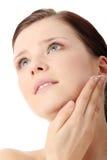 stosować kremowej twarzy moisturizer kobiety obraz royalty free