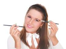stosować pięknego muśnięć dziewczyny makeup dwa zdjęcia royalty free